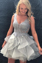 Glamorous V-Neck Ruffled Short Homecoming Dresses with Appliqued Bodice