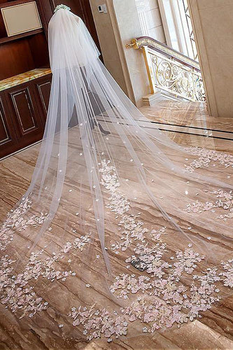 Elegant Long Lace Bridal Wedding Veils