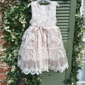Vintage Jewel Lace Flower Girl Dress with Sash
