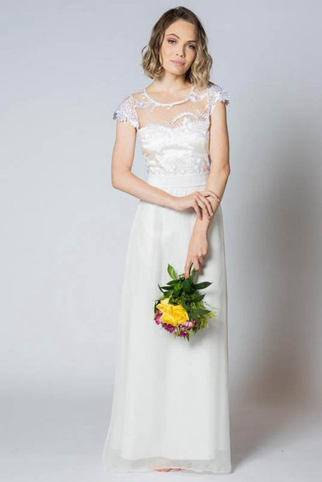 Simple Illusion Neck Cap Sleeves Sheath Wedding Dresses