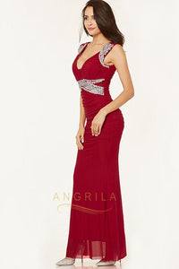 Plus Size Chiffon Floor-Length Prom Dresses with Crystals