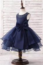 A-line/Princess Sleeveless Organza Flower Girl Dresses with Bow(s)