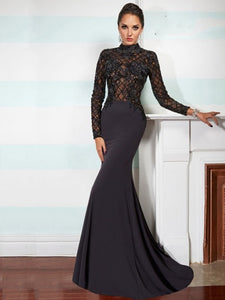High-neck Full/Long Sleeves Lace Appliqued with Beading Long Jersey Evening Dresses