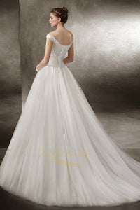 Off-the-shoulder Sweetheart Lace Applique Wedding Dresses