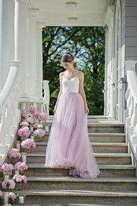 Long Spaghetti Straps Open Back Tulle Bridesmaid Dresses
