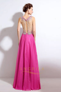 A-line/Princess Sleeveless Beading Chiffon Long Formal Prom Dresses