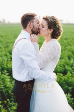 A-line/Princess Lace Long Sleeves Tulle Wedding Dresses