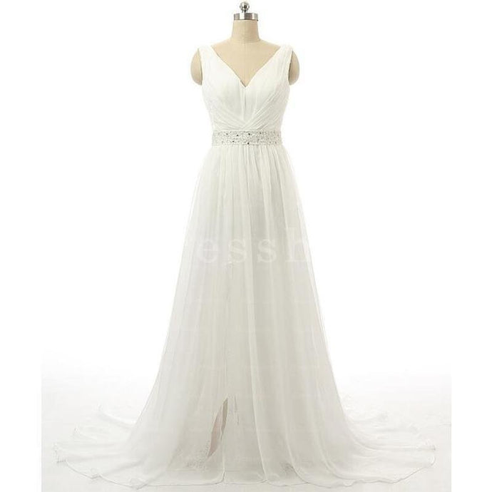 Ball-Gown/Princess V-neck Chapel Train Tulle Wedding Dress With Ruffle Beading