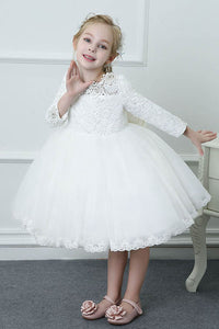 Long Sleeves Knee-length Lace & Tulle Flower Girl Dresses