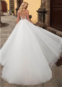 Modest Sleeveless Church Train Wedding Dress with Removable Skirt