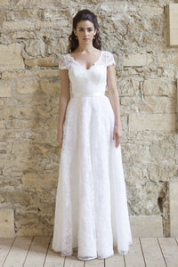 A-line/Princess V-neck Lace Cap Sleeves Floor-length Wedding Dress