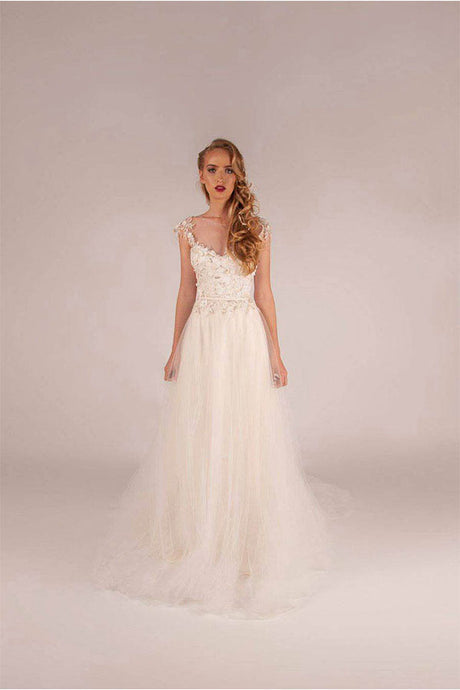 A-line Illusion Tulle Beach Wedding Dresses