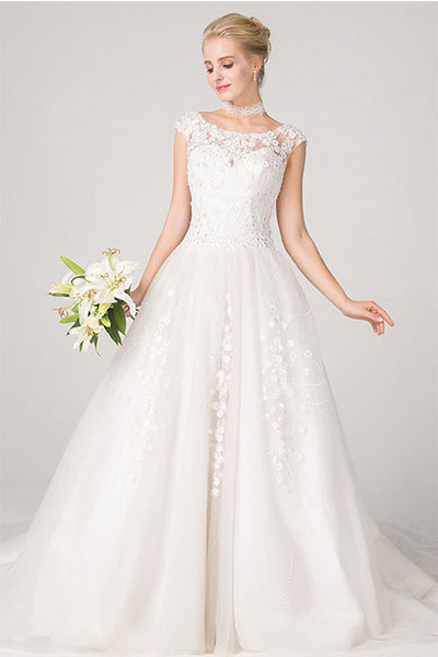 A-line Cap Sleeves Lace Appliques Beading Court Train Wedding Dresses