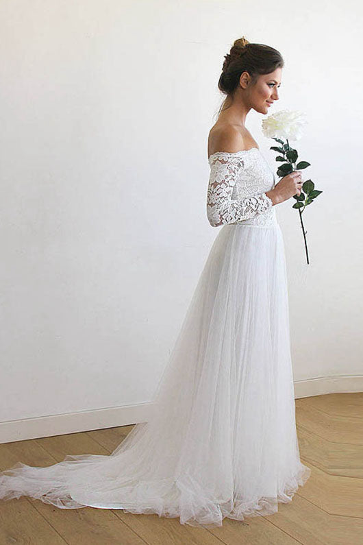 Off-the-Shoulder Long Sleeves Lace & Tulle Wedding Dresses