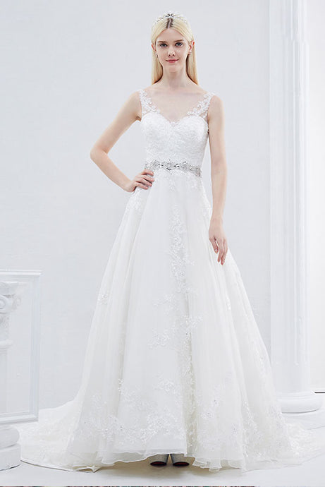 A-line V-neck Sleeveless Beading Wedding Dresses
