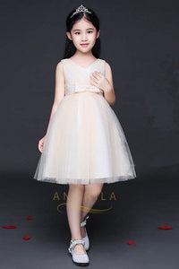 Knee-length Simple Tulle Flower Girl Dresses