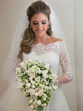 A-line/Princess Off-the-shoulder Full/Long Sleeves Long Lace Bridal Wedding Dresses with Beading