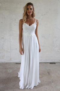 A-line Spaghetti Straps Lace Top Beach Wedding Dresses