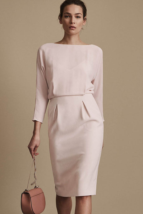 Tea Length Chiffon Sheath Dress