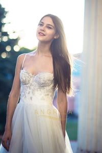 A-Line Sweetheart Tulle Simple Wedding Dresses