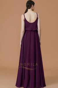 A-line Spaghetti Strap Front Split Long Bridesmaid Dresses
