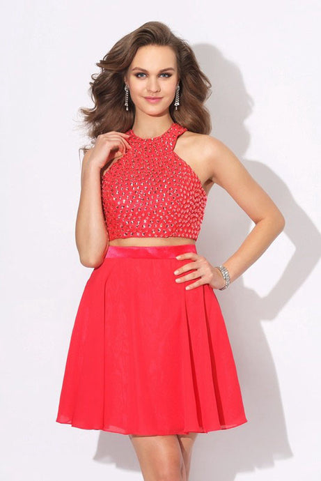 Two-piece A-line/Princess Halter Beading Short Cocktail Dresses