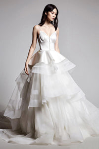 Princess Tulle & Satin V-Neck Layers Ball Gown Wedding Dresses