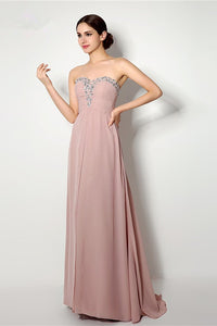 A-line Strapless Sweetheart Beading Lace-up Long Chiffon Bridesmaid Dresses with Sweep Train