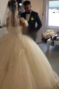 Ball Gown Illusion Sweetheart Full/Long Sleeves Lace Appliques Beading Long Bridal Wedding Dresses