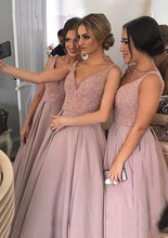 A-line Sleeveless V-neck Sweep Train Sequins Bridesmaid Dresses with Pockets