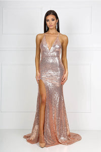 V-neck Sequin Formal Dresses with Front Slit