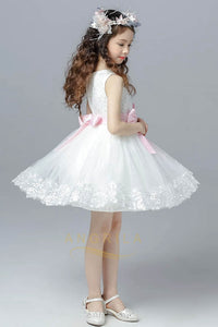 Knee-length Bows Lace & Tulle Flower Girl Dresses