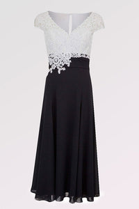 A-line V-neck Cap Sleeves Tea-length Chiffon Lace Mother of the Bride Dresses