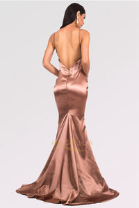 Long Mermaid V-neck Satin Backless Prom Dresses