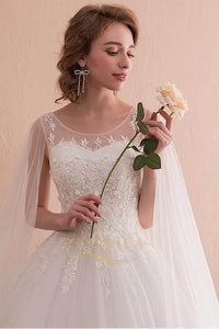 Fantastic Tulle A-Line Wedding Dresses with Lace Appliques