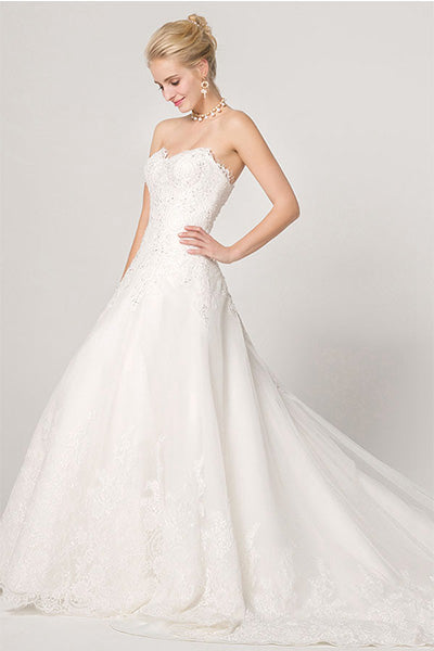 A-line Strapless Sweetheart Lace Applique Bridal Wedding Dresses