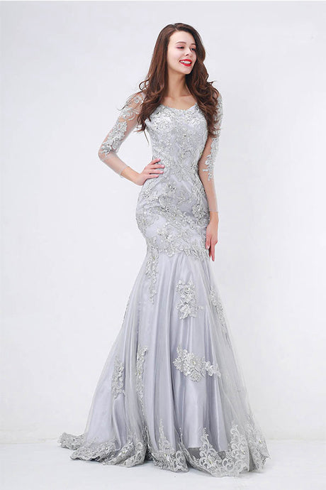 Floor-length Mermaid Evening Dress with Appliques