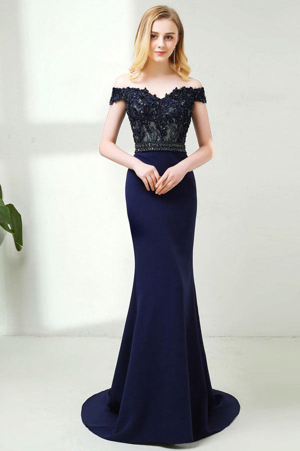 Off-the-Shoulder Lace Bodice Mermaid Evening Dresses
