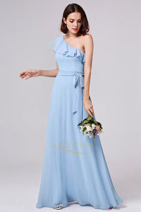 One-shoulder A-line/Princess Long Chiffon Bridesmaid Dresses