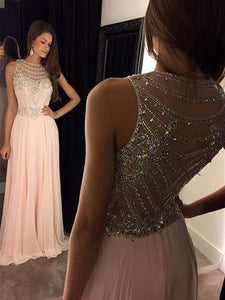 Shining Beading  A-line Zipper Up at Side Floor-length Chiffon Prom Dresses