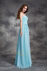 Long Straight Strapless Chiffon Bridesmaid Dresses