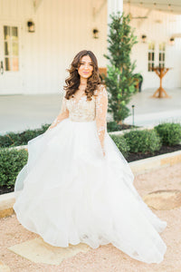 Plus Size Wedding Dresses with Lace Applique and Long Sleeves