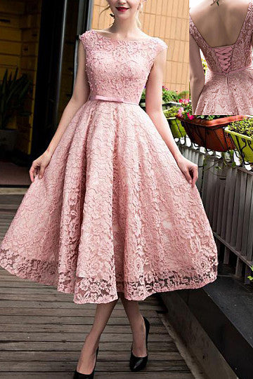 A-Line/Princess Scoop Neck Short/Mini Prom Dresses With Beading
