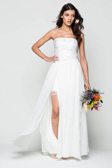 Strapless Lace Wedding Dresses With Slit Skirt