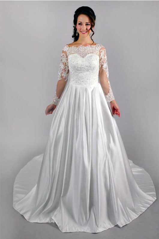 Fabulous A-Line Appliqued Satin Long Sleeves Lace Wedding Dress