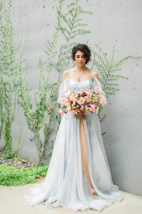 A-line/Princess Off-the-shoulder Sweep Train Wedding Dresses