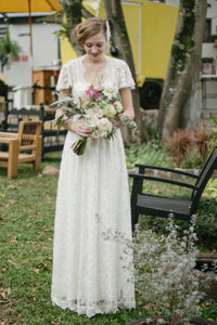 Short Sleeves Floor-length Lace Wedding Dresses