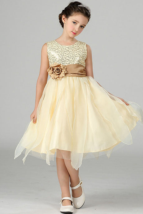 A-line Sequined Top Bodice Knee-length Flower Girl Dresses
