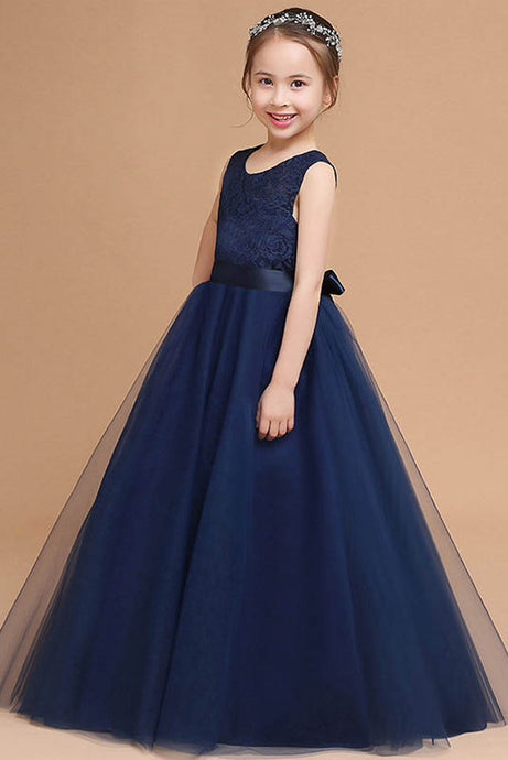 A-line Floor-length Sleeveless Tulle Flower Girl Dress