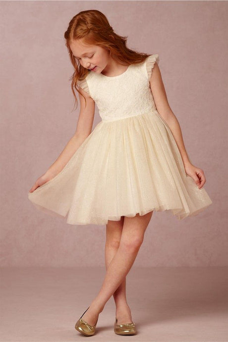 A-Line Cap Sleeves Tulle Short Flower Girl Dresses